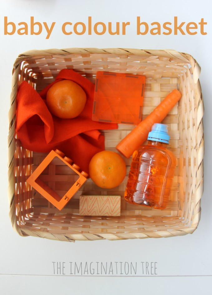 Baby colour themed sensory treasure  basket