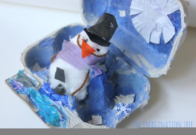 Winter egg carton art activity