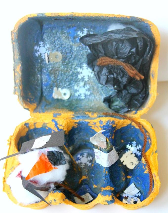 Winter wonderland egg carton activity for preschoolers