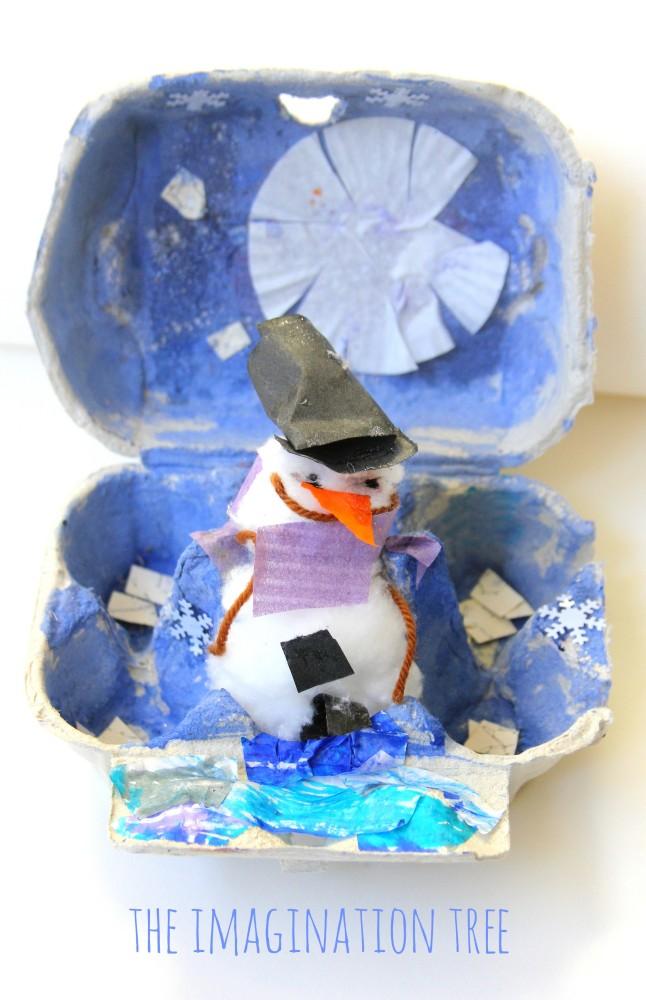 Winter wonderland egg carton scene