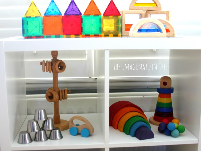 baby and toddler play shelves area
