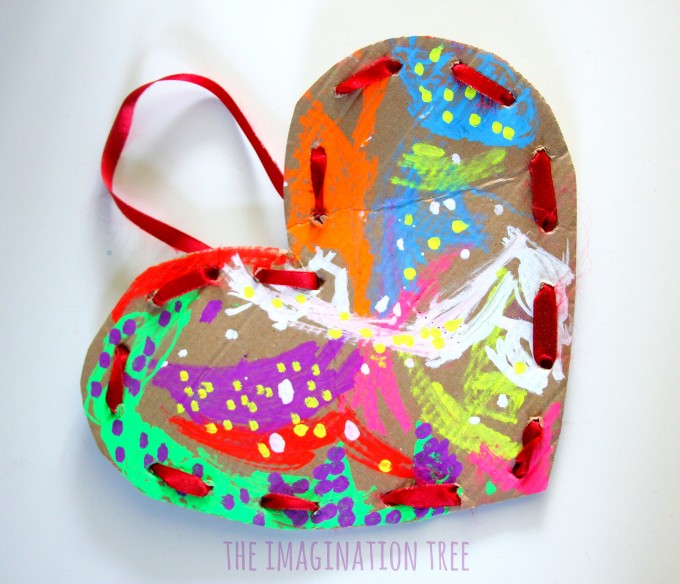 Cardboard lacing hearts craft for kids