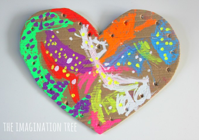 Cardboard heart craft for Valentines