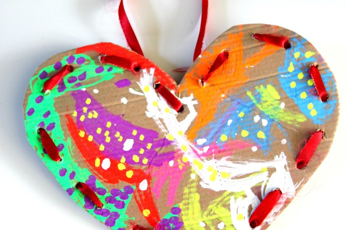 Lacing heart fine motor craft for Valentine's day