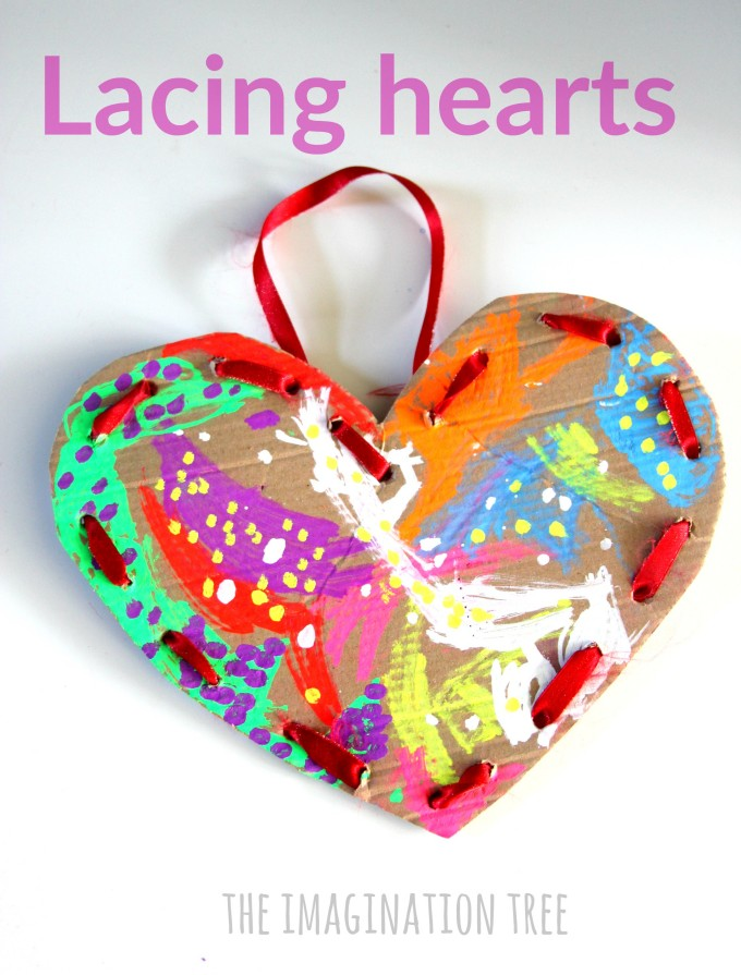 Cardboard lacing hearts fine motor craft for Valentine's day