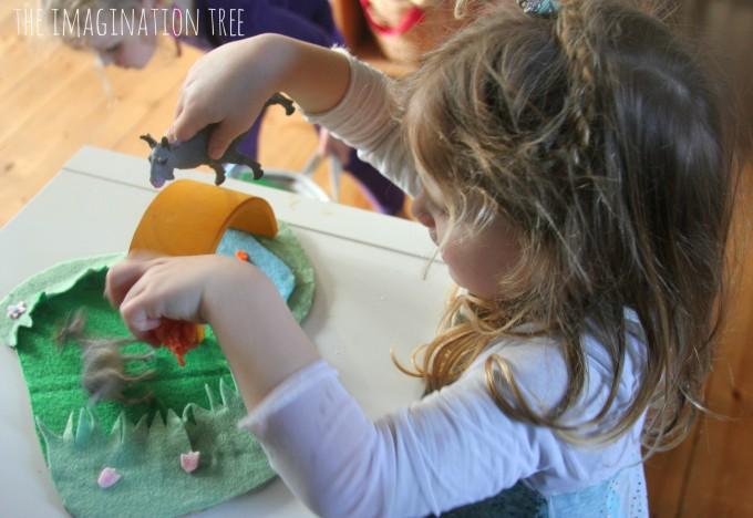 Preschool literacy play with a fairy tale storytelling basket