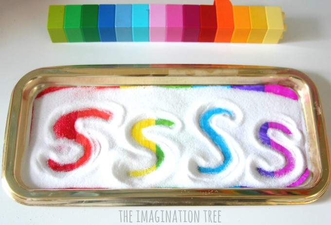 Rainbow sensory writing tray for learning letters
