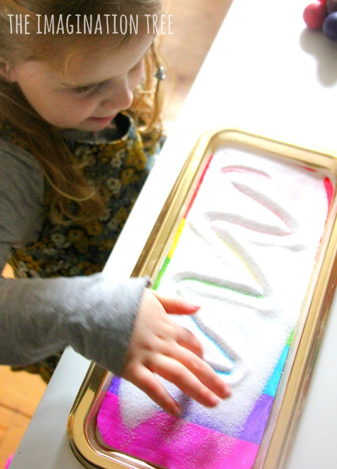 Rainbow sensory writing tray fun
