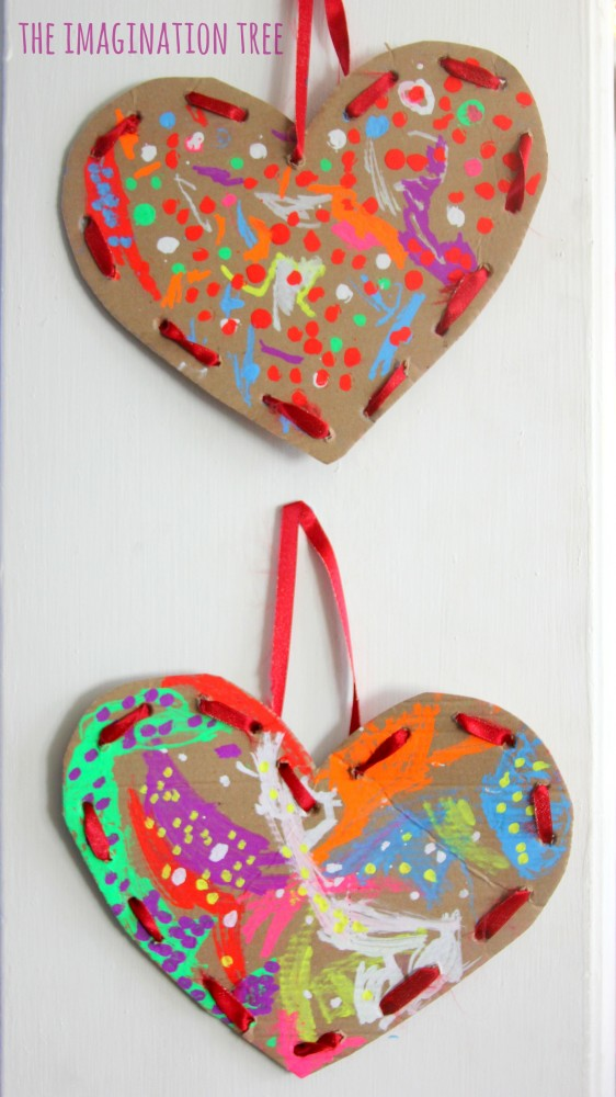 Cardboard lacing hearts valentine's craft