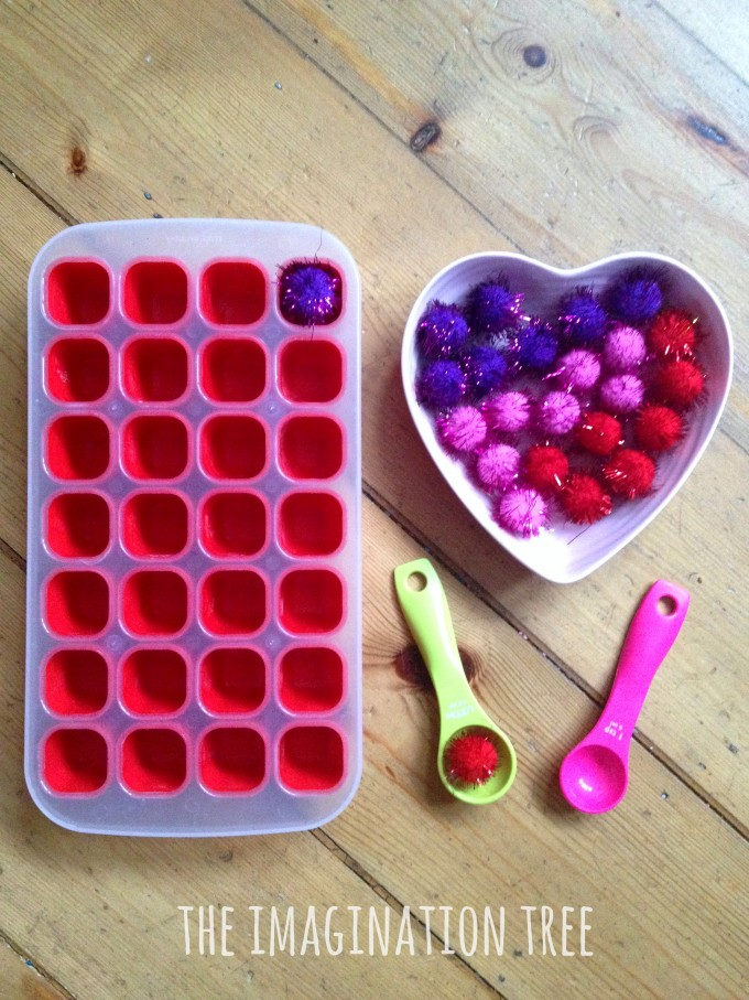 Simple scoop and fill fine motor activity for toddlers