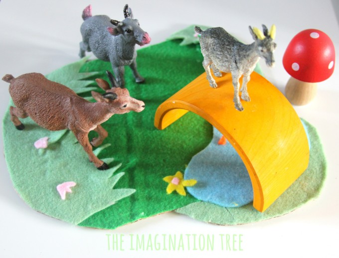 The three billy goats gruff story-telling basket for literacy play