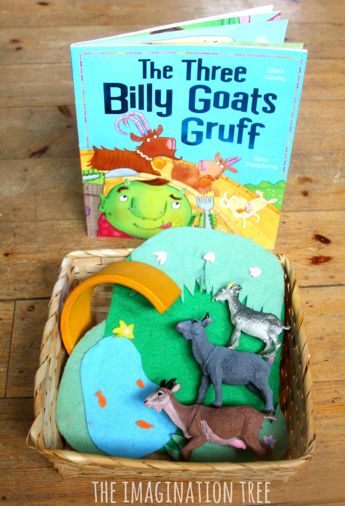 The three billy goats gruff storytelling basket