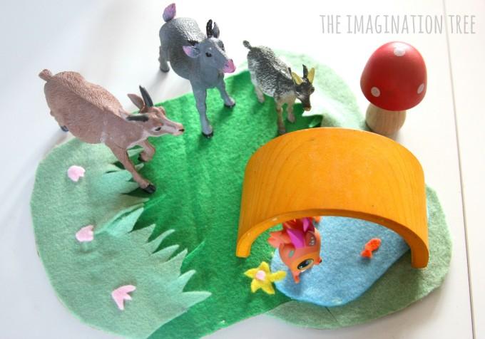 The three billy goats gruff storytelling basket for literacy play