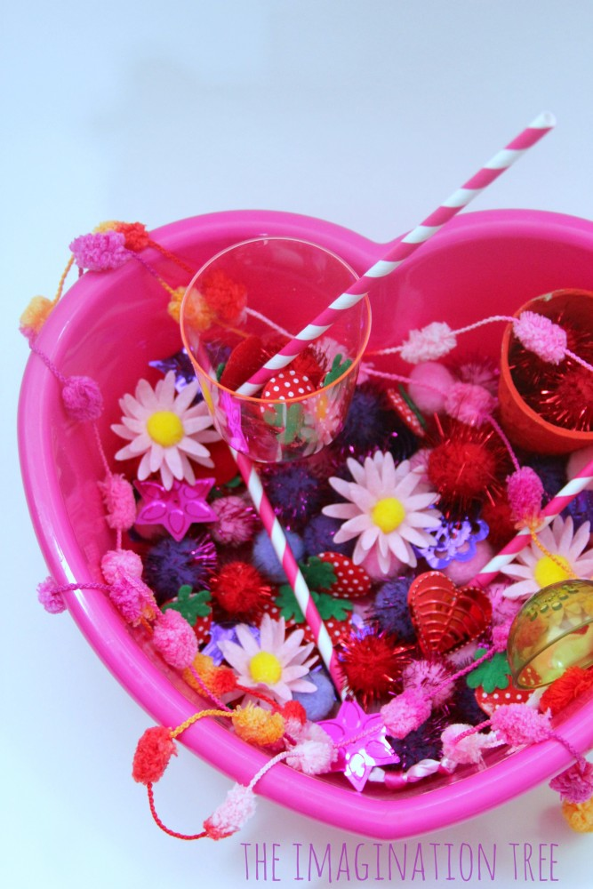 VAlentine's sensory tub for fine motor fun!
