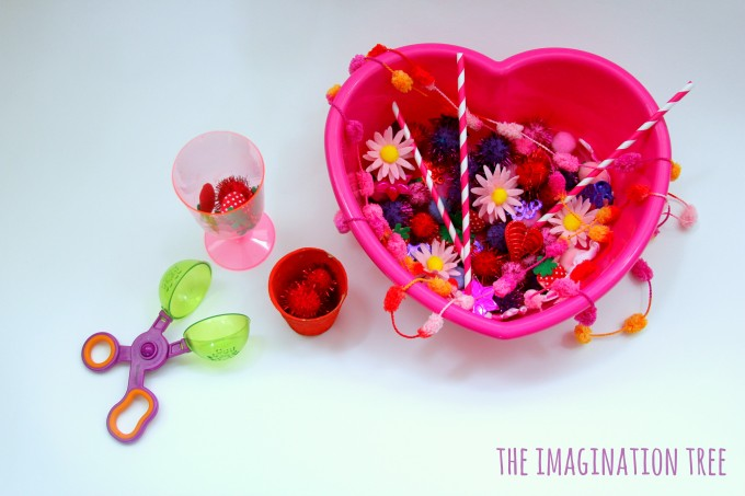 Valentine's sensory tub for scooping and trasnferring