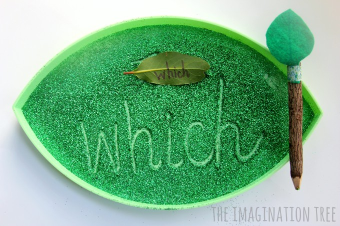 Leaf sensory writing tray for writing letters and sight words