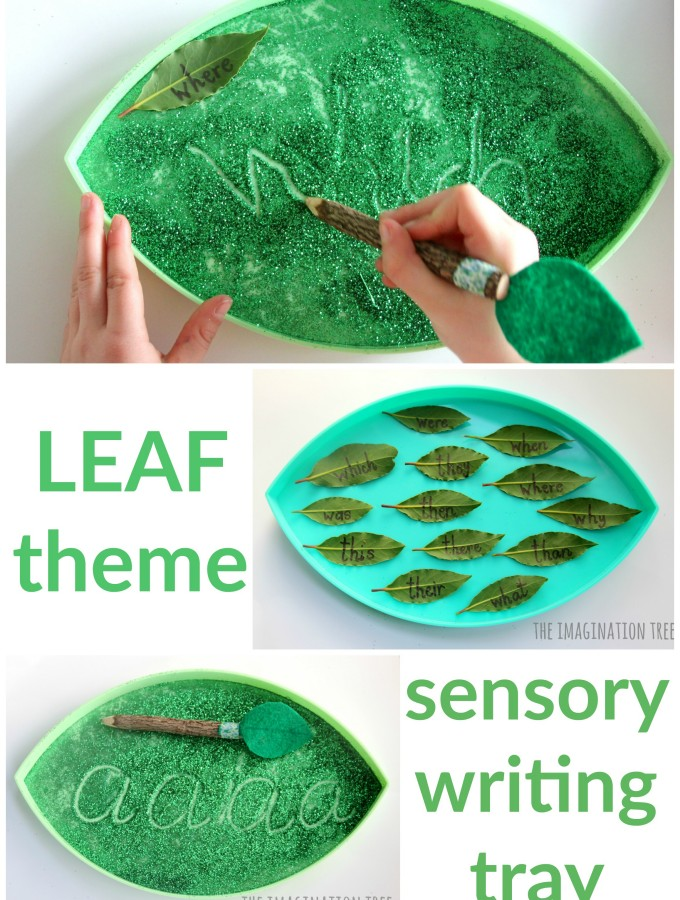 Leaf sensory writing tray literacy activity for kids!
