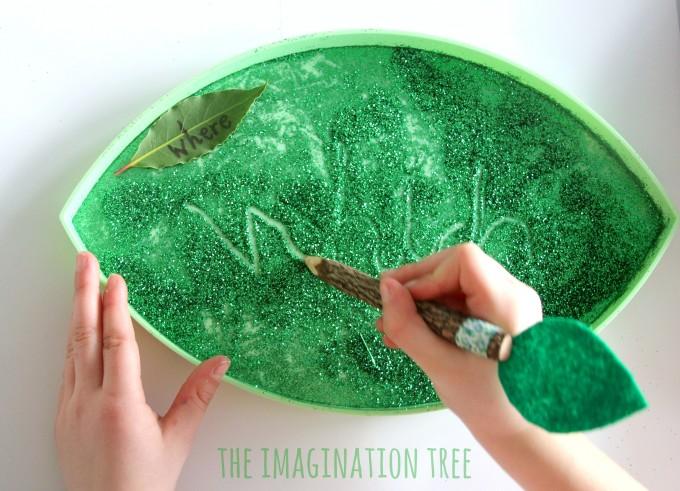 Leaf themed sensory writing tray