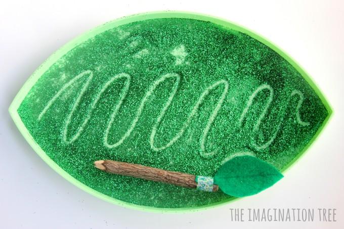 Spring leaf sensory writing and mark-making tray