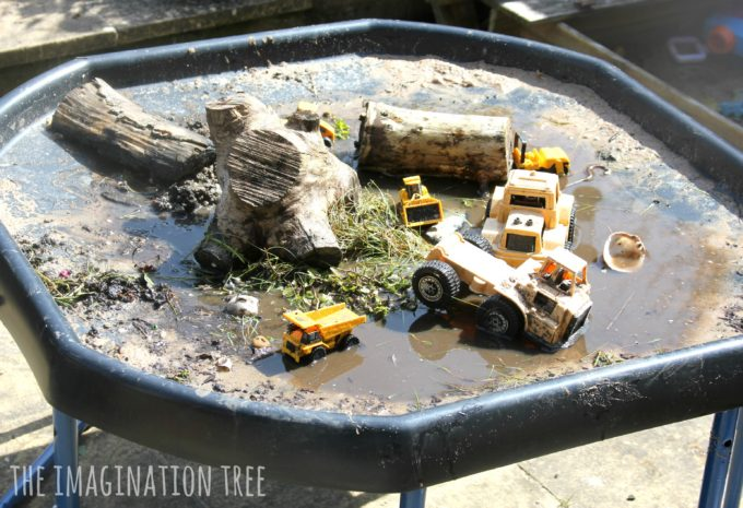 Diggers In The Mud Sensory Play Tray The Imagination Tree