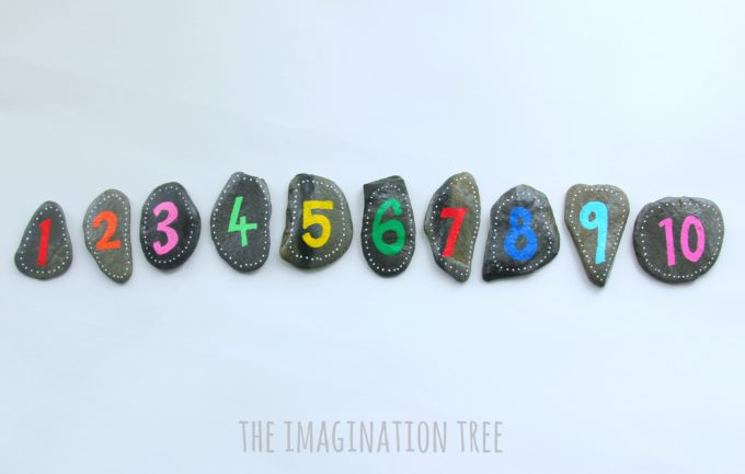 DIY number rocks for counting and calculations