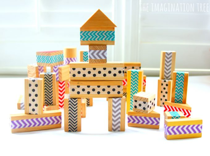 DIY patterned washi tape wood blocks