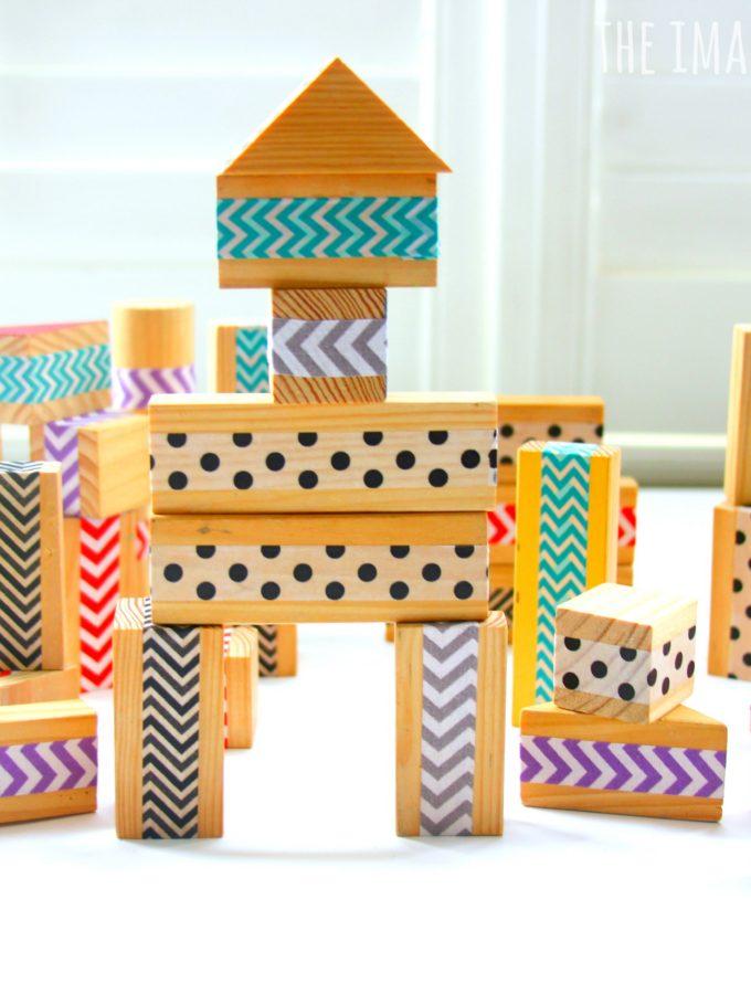 DIY patterned washi tape wood blocks