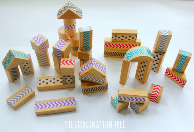 DIY patterned wood blocks using washi tape