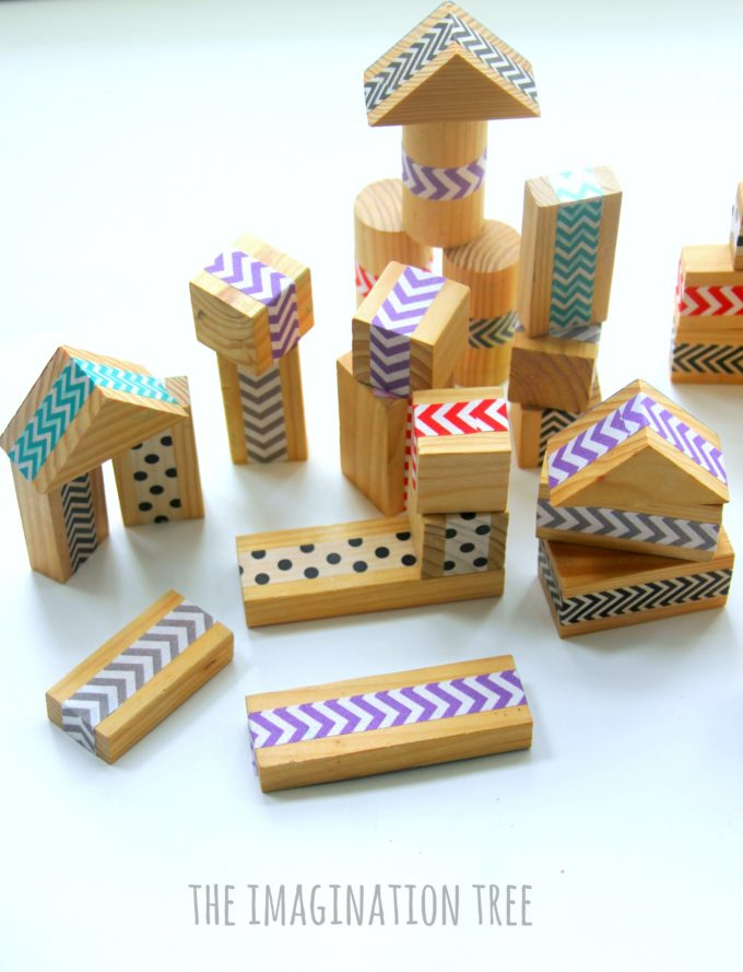 DIY washi tape patterned wood blocks