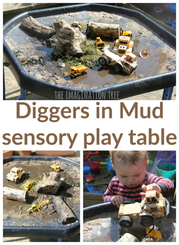 Diggers in the mud sensory play for preschoolers