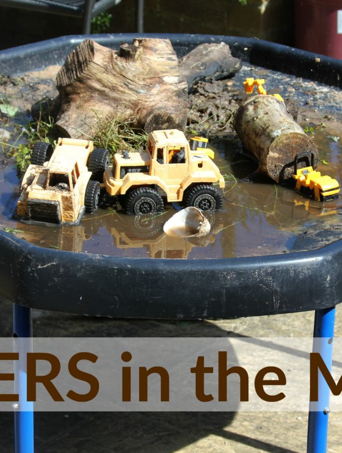 Diggers in the mud sensory play fun for toddlers and preschoolers!
