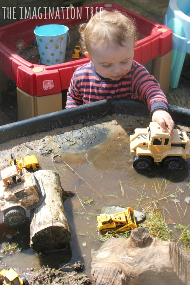 Diggers in the mud sensory play table