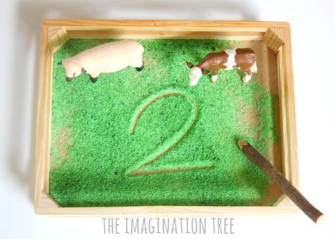 Farmyard sensory counting and writing tray