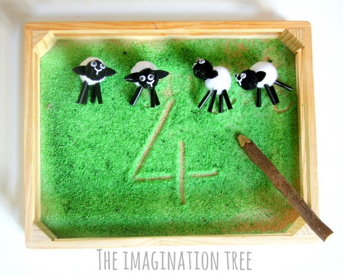 Farmyard sensory maths tray