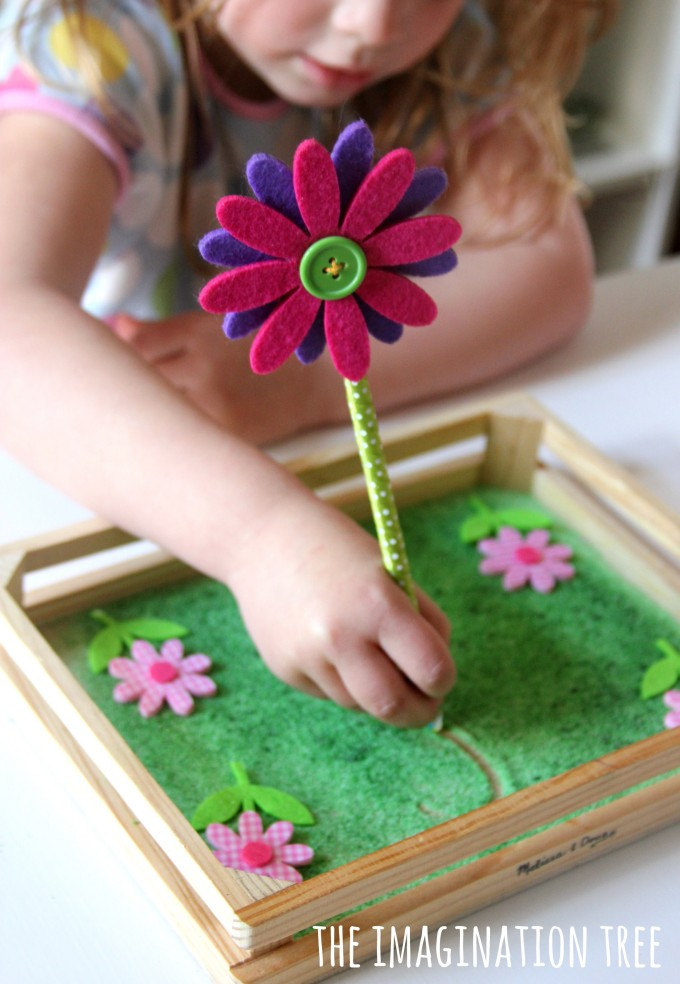 Flower sensory writing tray