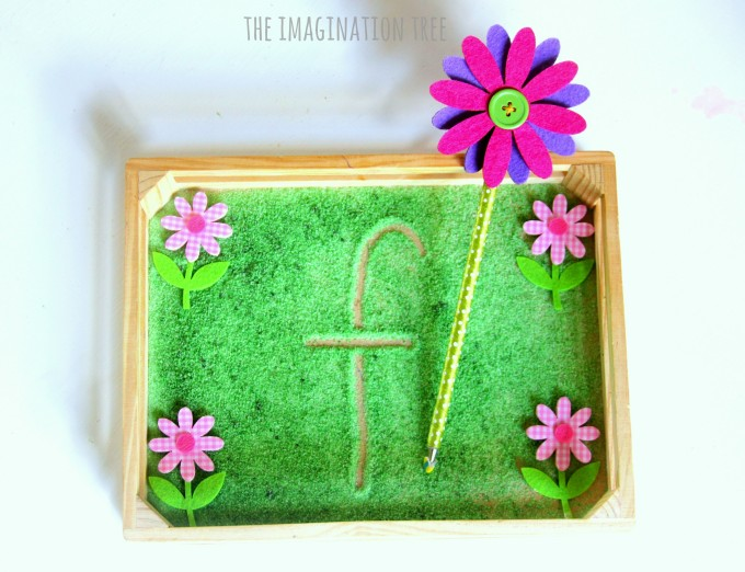Flower themed sensory writing tray