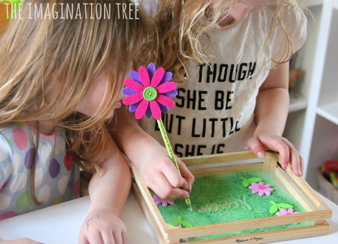 Flower themed sensory writing tray activity