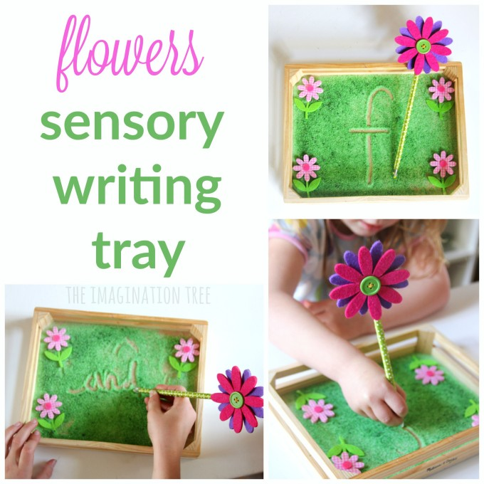 Flower themed sensory writing tray literacy activity for kids