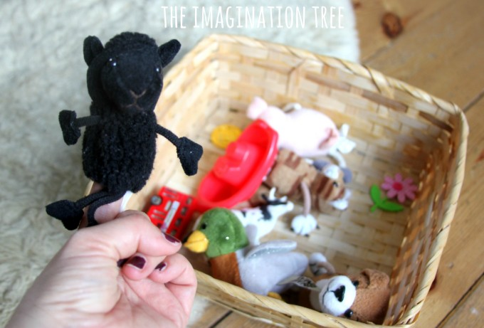 Make a nursery rhyme singing props basket for babies and preschoolers!