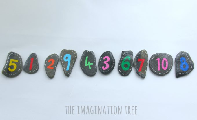 Mixed up number-line maths game for kids using DIY number pebbles