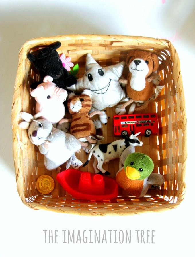 Nursery rhyme singing props basket for babies, toddlers and preschoolers