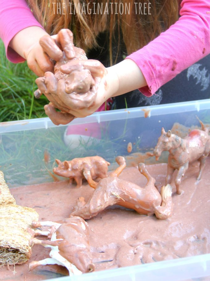 Farm animals in the mud edible sensory play!
