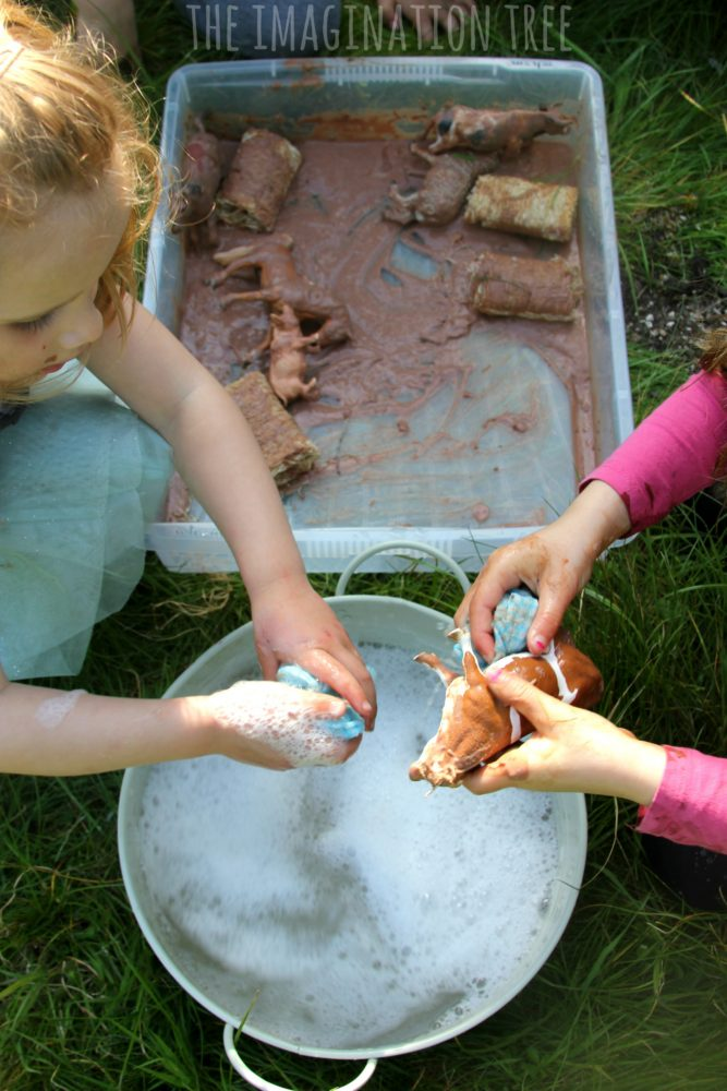 Wash the Muddy Farm Animals Sensory Play - The Imagination ...