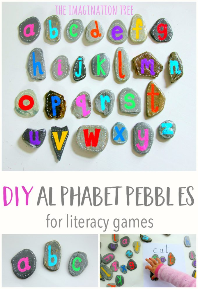 DIY alphabet pebbles for learning letters, how to spell and matching games!