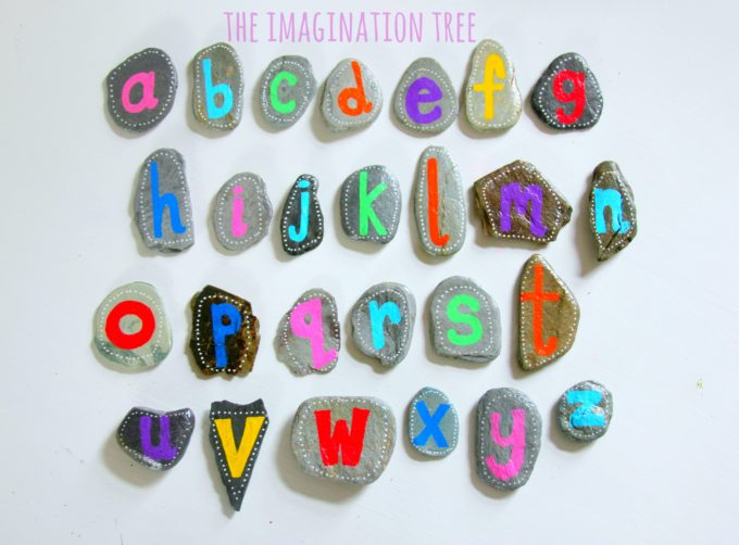 DIY alphabet pebbles for literacy play