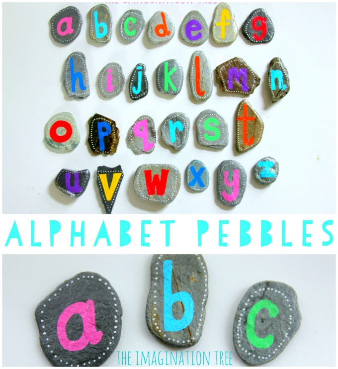 DIY alphabet pebbles for literacy play with kids!