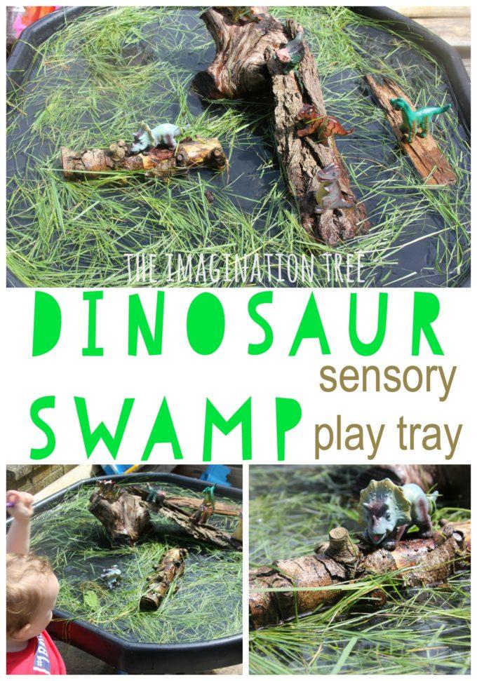 Dinosaur swamp natural sensory play tray