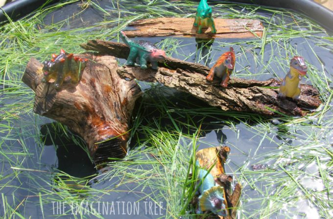 Dinosaur swamp sensory play and small world imaginative set up!