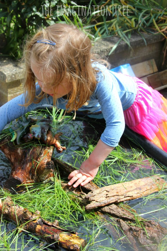 Dinosaur swamp sensory play small world for preschoolers