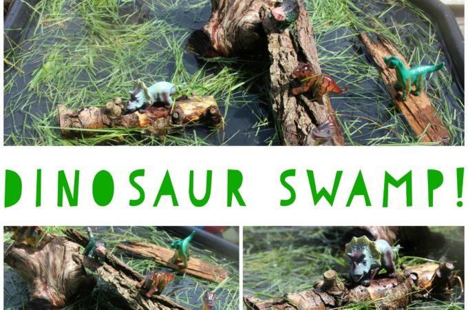 Dinosaur swamp sensory play tray for preschoolers